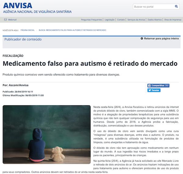 Anvisa reforça proibição de MMS em seu site — Revista Autismo
