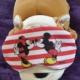 Cachorrinho de pelúcia, com um tapa olhos que traz o desenho do Mickey e Minnie, sobre um cobertor roxo.